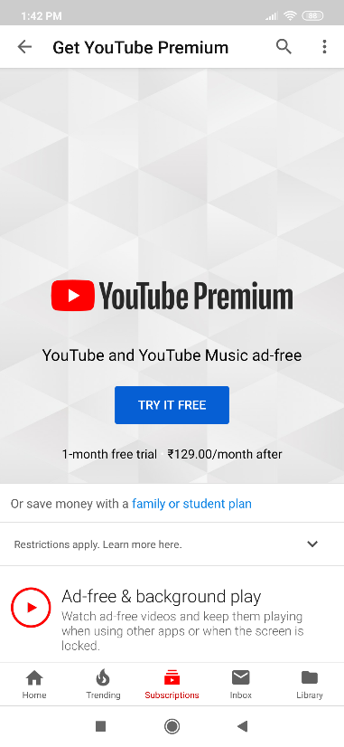 app subscription in youtube